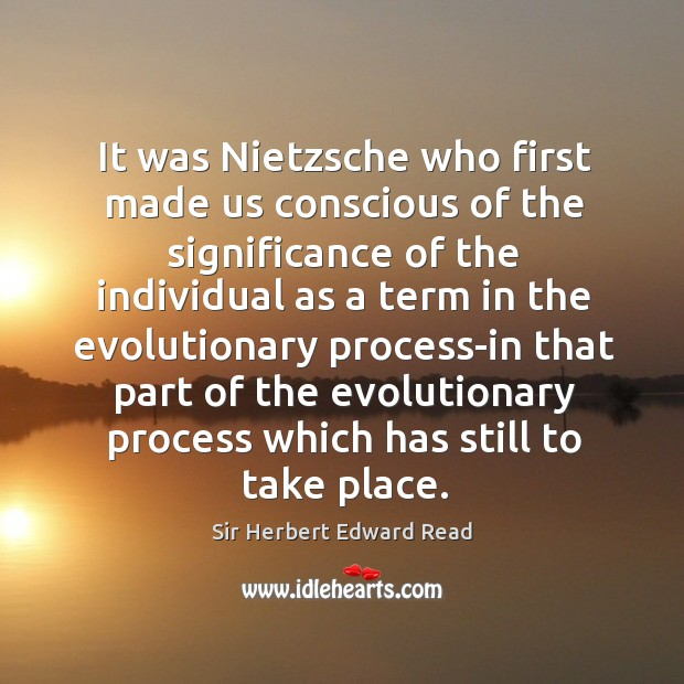 It was nietzsche who first made us conscious of the significance of the individual as a term Sir Herbert Edward Read Picture Quote