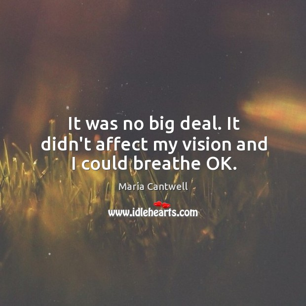 It was no big deal. It didn't affect my vision and I could breathe OK. Maria Cantwell Picture Quote