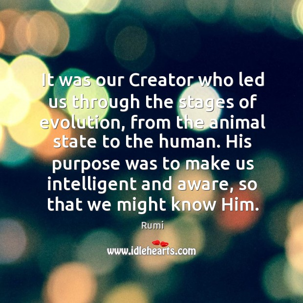 Image, It was our Creator who led us through the stages of evolution,