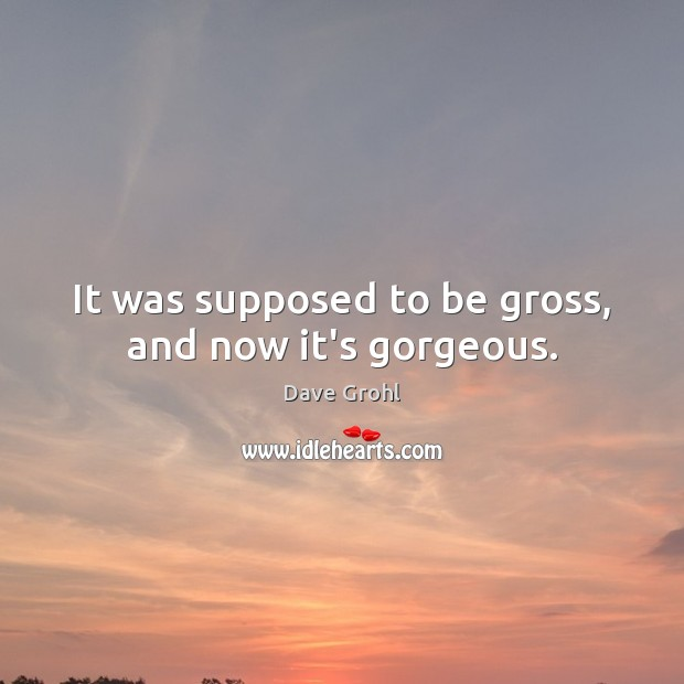It was supposed to be gross, and now it's gorgeous. Dave Grohl Picture Quote
