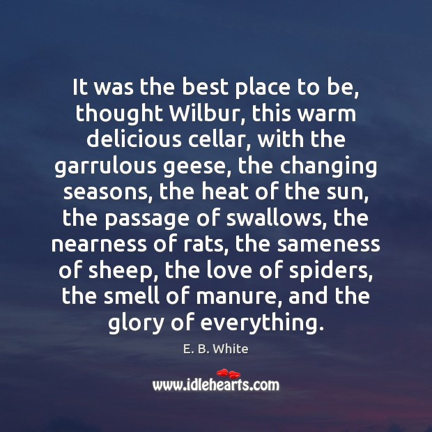 It was the best place to be, thought Wilbur, this warm delicious E. B. White Picture Quote