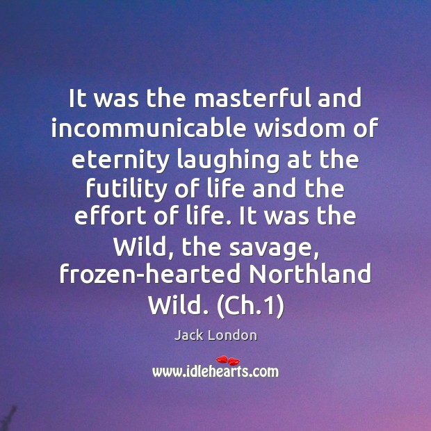 It was the masterful and incommunicable wisdom of eternity laughing at the Jack London Picture Quote