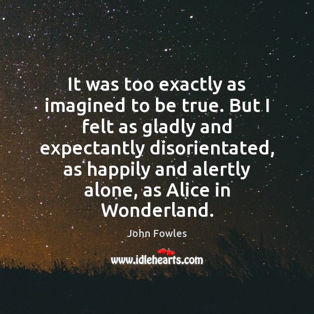 It was too exactly as imagined to be true. But I felt John Fowles Picture Quote