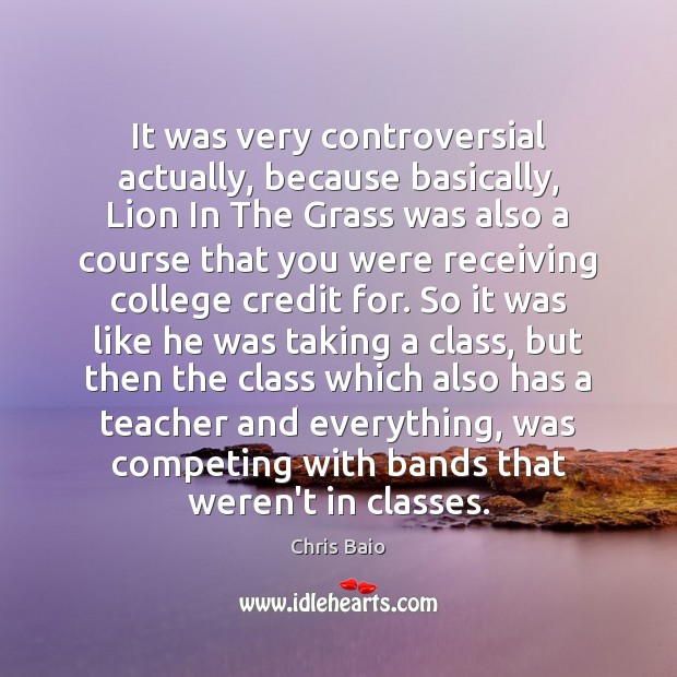 It was very controversial actually, because basically, Lion In The Grass was Chris Baio Picture Quote