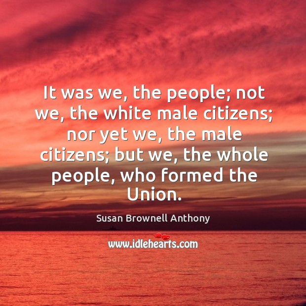 Image, It was we, the people; not we, the white male citizens; nor yet we, the male citizens.