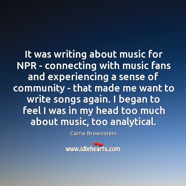 Image, It was writing about music for NPR – connecting with music fans