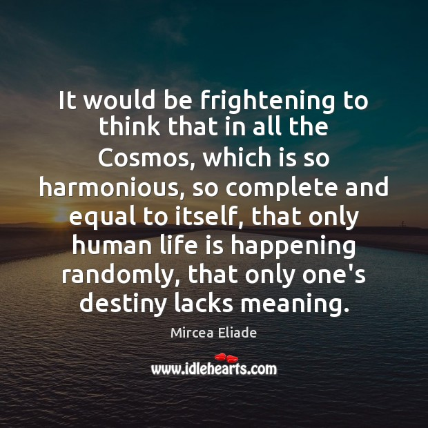 It would be frightening to think that in all the Cosmos, which Mircea Eliade Picture Quote