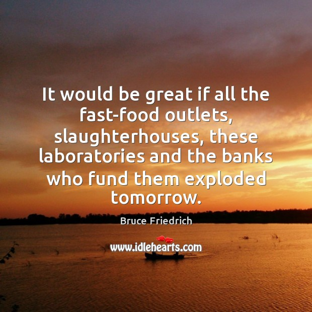 Image, It would be great if all the fast-food outlets, slaughterhouses, these laboratories