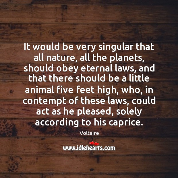 It would be very singular that all nature, all the planets, should Image