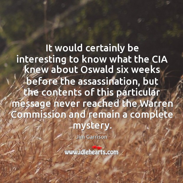 It would certainly be interesting to know what the cia knew about oswald six weeks before Jim Garrison Picture Quote