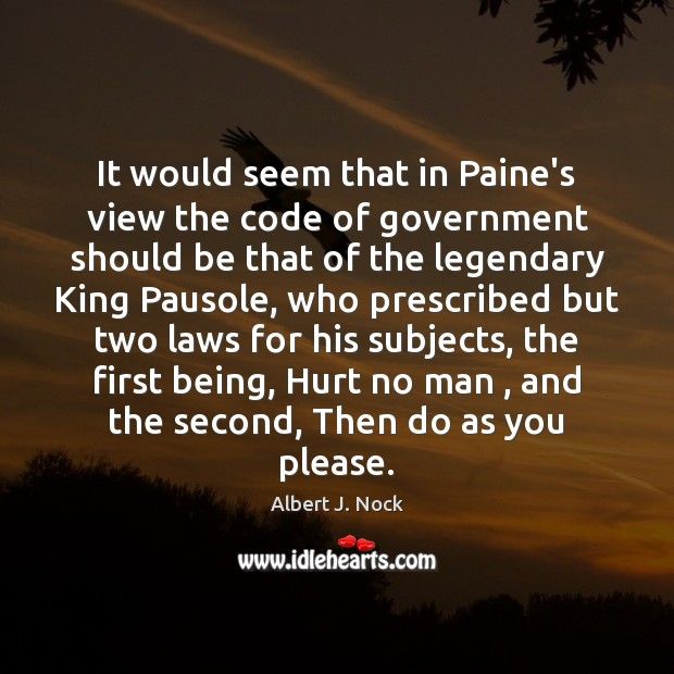 Image, It would seem that in Paine's view the code of government should