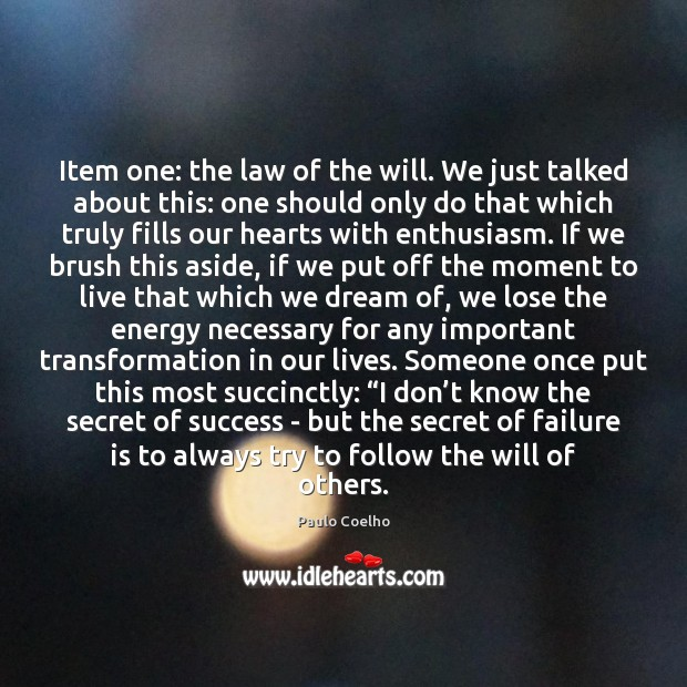 Image, Item one: the law of the will. We just talked about this: