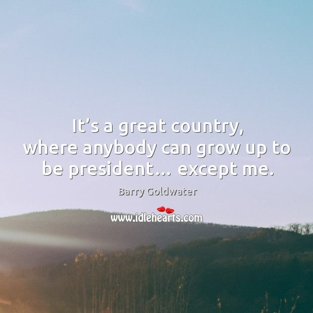 It's a great country, where anybody can grow up to be president… except me. Image