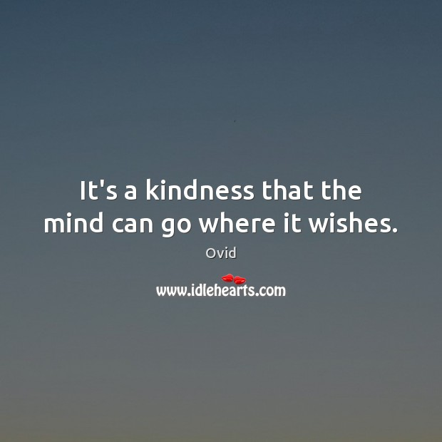 It's a kindness that the mind can go where it wishes. Ovid Picture Quote