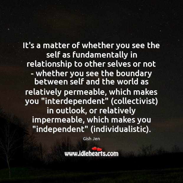 It's a matter of whether you see the self as fundamentally in Image