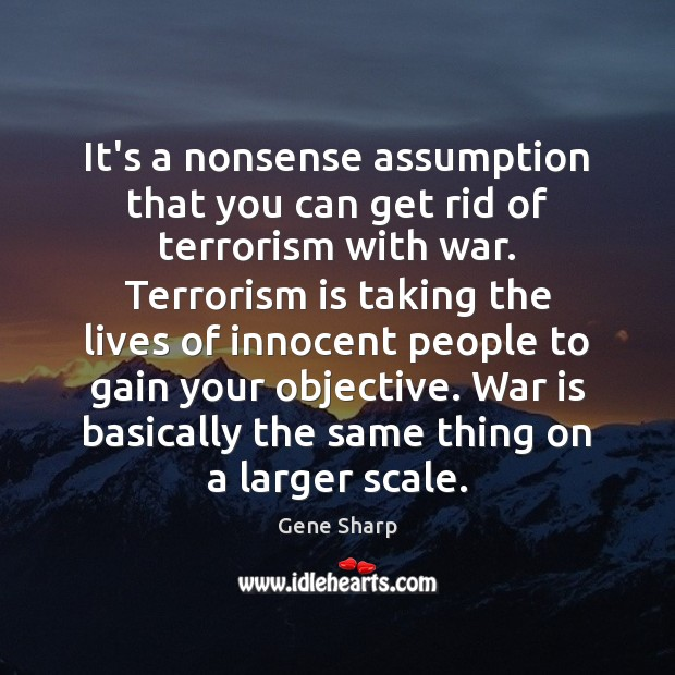 It's a nonsense assumption that you can get rid of terrorism with Image