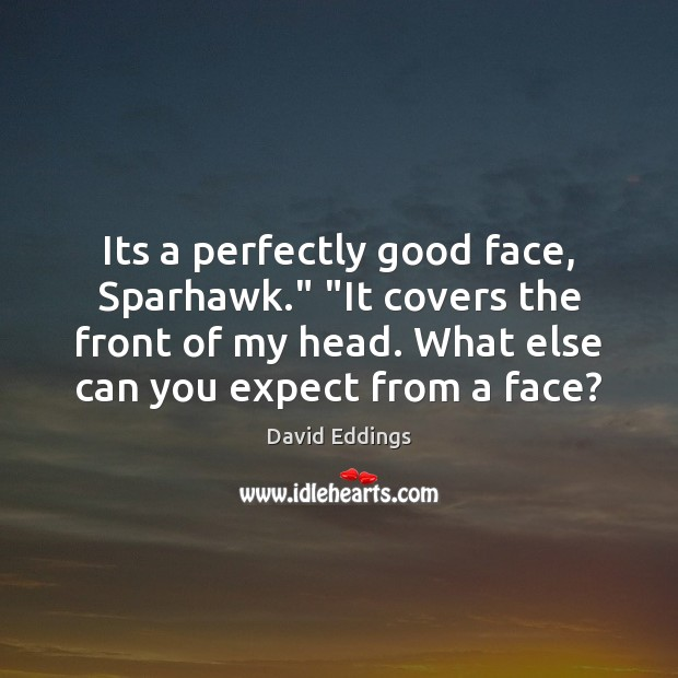 """Its a perfectly good face, Sparhawk."""" """"It covers the front of my David Eddings Picture Quote"""