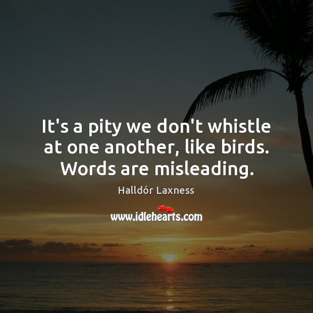 It's a pity we don't whistle at one another, like birds. Words are misleading. Image