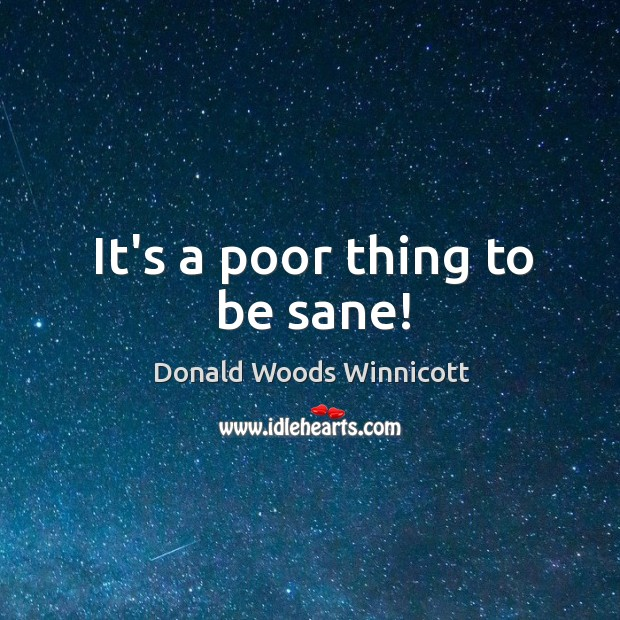 It's a poor thing to be sane! Donald Woods Winnicott Picture Quote
