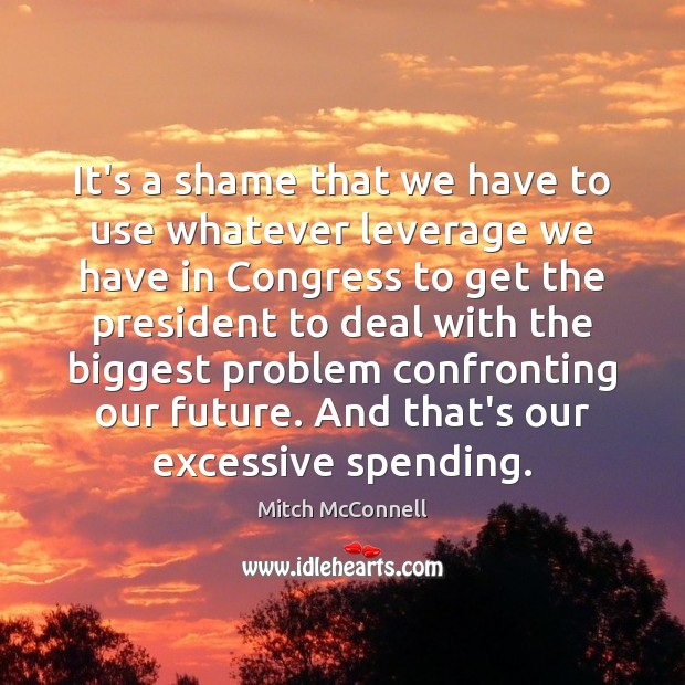It's a shame that we have to use whatever leverage we have Mitch McConnell Picture Quote