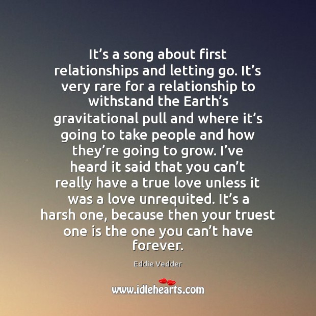 It's a song about first relationships and letting go. It's Image
