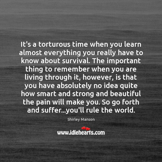 Shirley Manson Picture Quote image saying: It's a torturous time when you learn almost everything you really have