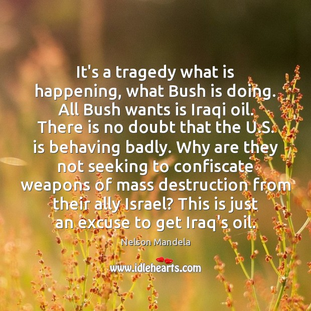 It's a tragedy what is happening, what Bush is doing. All Bush Image