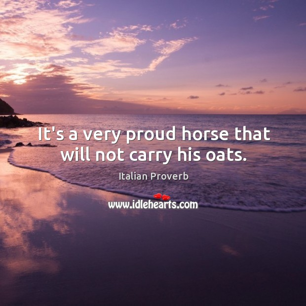 Image, It's a very proud horse that will not carry his oats.