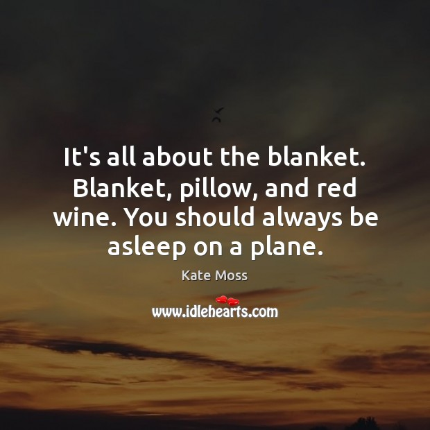 It's all about the blanket. Blanket, pillow, and red wine. You should Kate Moss Picture Quote