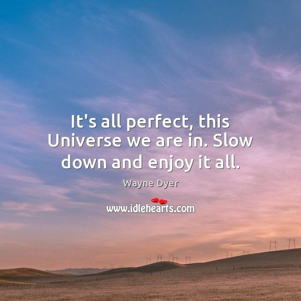 Image, It's all perfect, this Universe we are in. Slow down and enjoy it all.