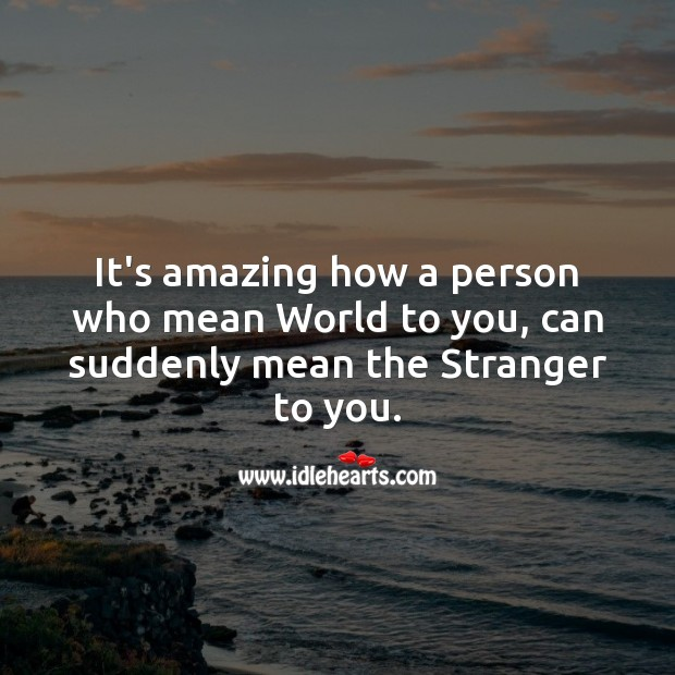 It's amazing how a person who mean world to you, can suddenly mean the stranger to you. Life Messages Image