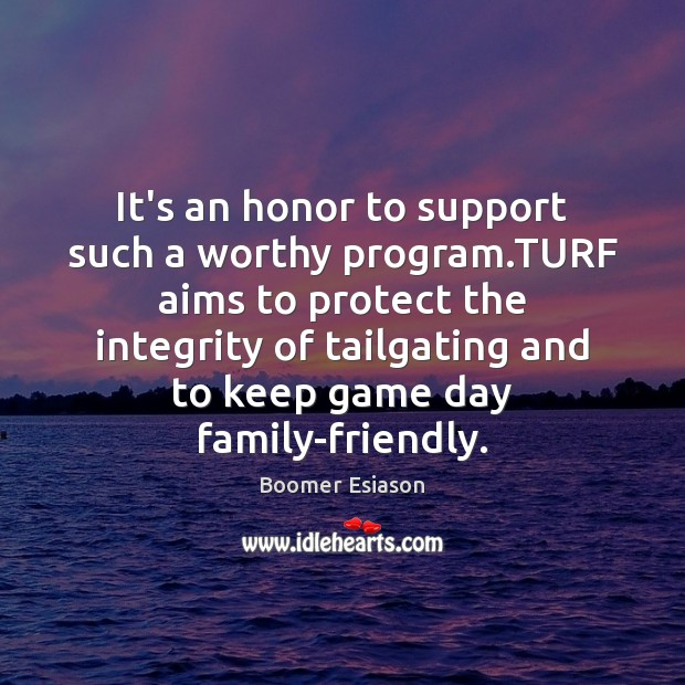 Image, It's an honor to support such a worthy program.TURF aims to