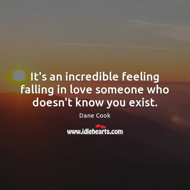It's an incredible feeling falling in love someone who doesn't know you exist. Dane Cook Picture Quote