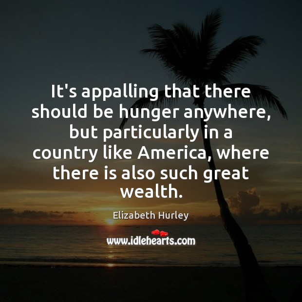 It's appalling that there should be hunger anywhere, but particularly in a Elizabeth Hurley Picture Quote