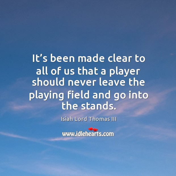 Image, It's been made clear to all of us that a player should never leave the playing field and go into the stands.
