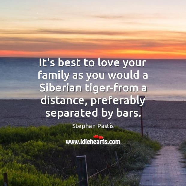 It's best to love your family as you would a Siberian tiger-from Stephan Pastis Picture Quote