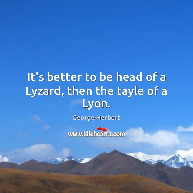 Image, It's better to be head of a Lyzard, then the tayle of a Lyon.