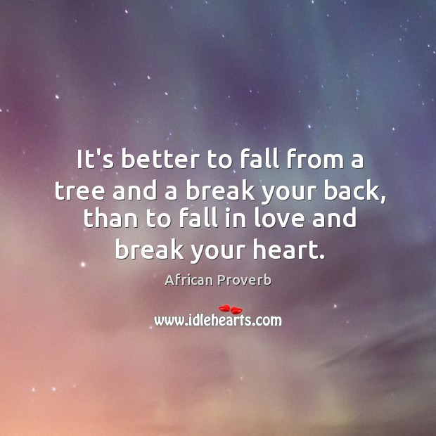 It's better to fall from a tree and a break your back, than to fall in love. Image