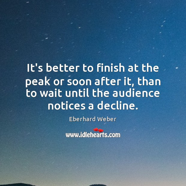It's better to finish at the peak or soon after it, than Image