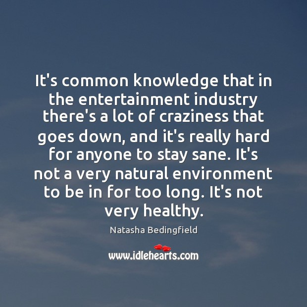 It's common knowledge that in the entertainment industry there's a lot of Natasha Bedingfield Picture Quote