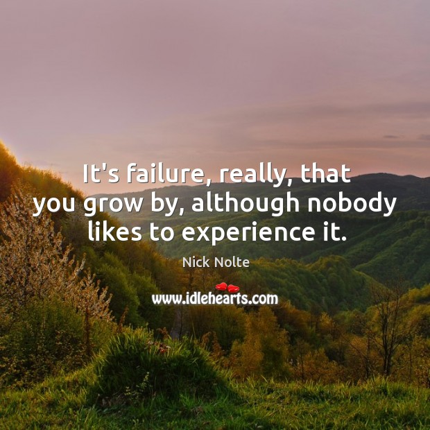 It's failure, really, that you grow by, although nobody likes to experience it. Nick Nolte Picture Quote