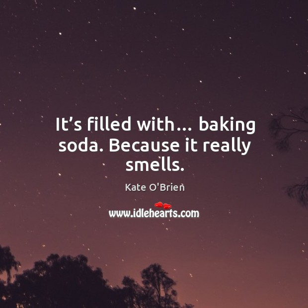 It's filled with… baking soda. Because it really smells. Image