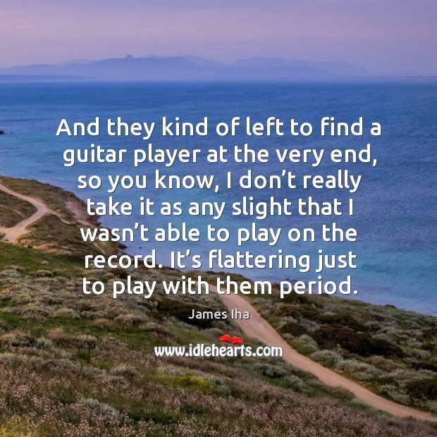 It's flattering just to play with them period. James Iha Picture Quote