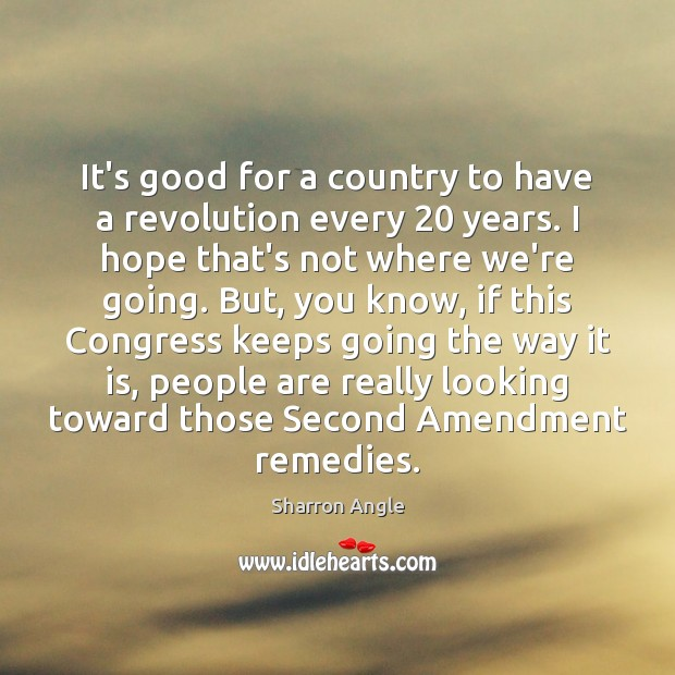 It's good for a country to have a revolution every 20 years. I Sharron Angle Picture Quote