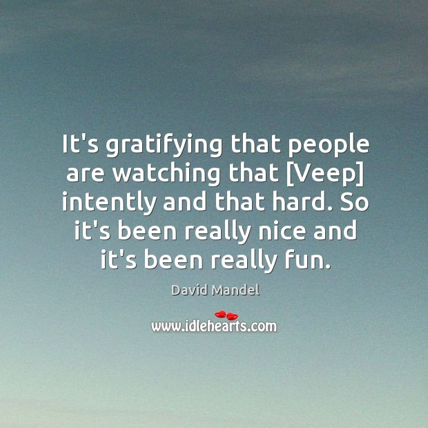 It's gratifying that people are watching that [Veep] intently and that hard. David Mandel Picture Quote