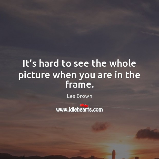 It's hard to see the whole picture when you are in the frame. Les Brown Picture Quote