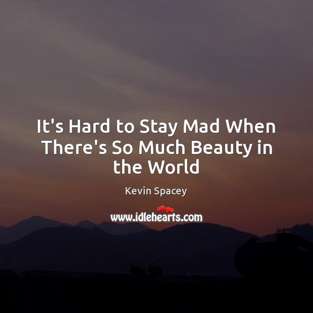It's Hard to Stay Mad When There's So Much Beauty in the World Kevin Spacey Picture Quote