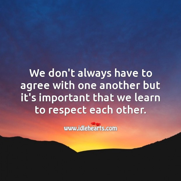 It's important that we learn to respect each other. Respect Quotes Image