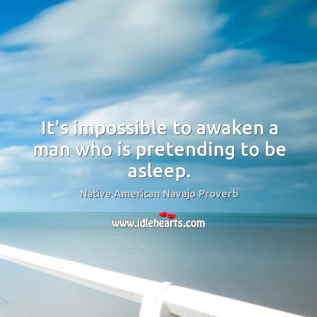 It's impossible to awaken a man who is pretending to be asleep. Native American Navajo Proverbs Image