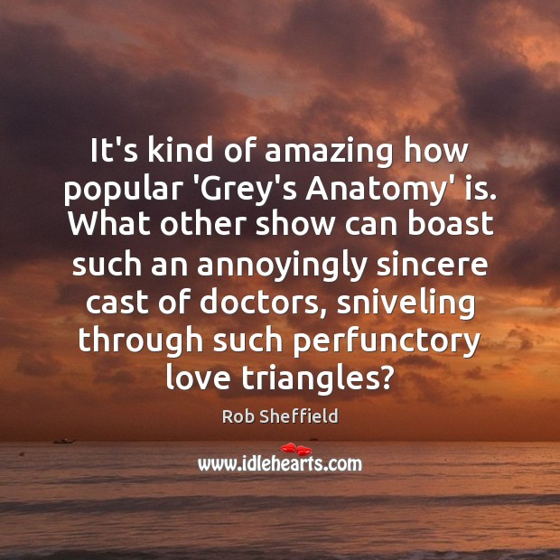 It's kind of amazing how popular 'Grey's Anatomy' is. What other show Rob Sheffield Picture Quote